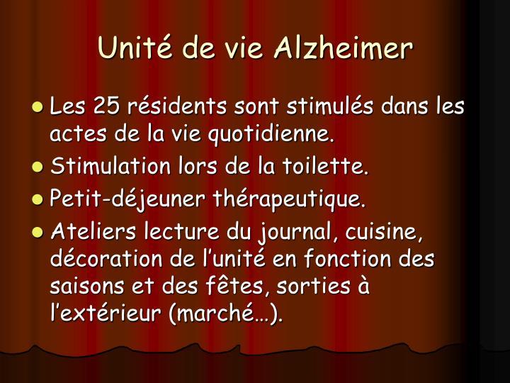 Unité de vie Alzheimer