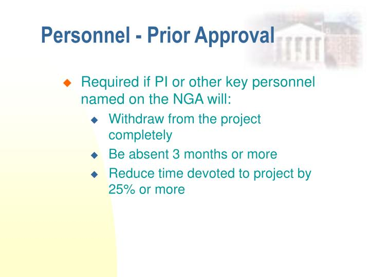 Personnel - Prior Approval