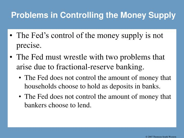Problems in Controlling the Money Supply