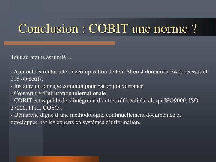 Conclusion : COBIT une norme ?