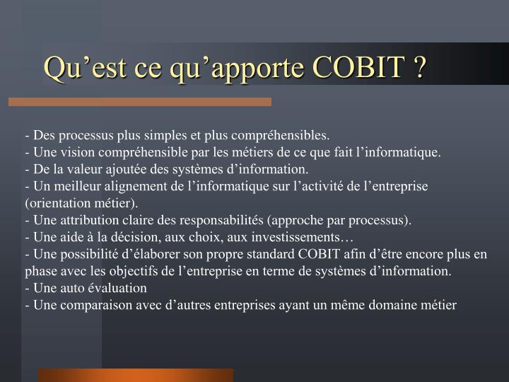 Qu'est ce qu'apporte COBIT ?