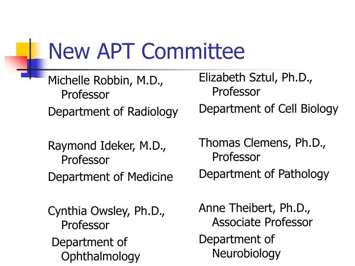 New APT Committee