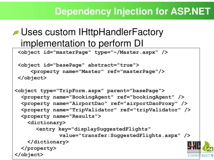 Dependency Injection for ASP.NET
