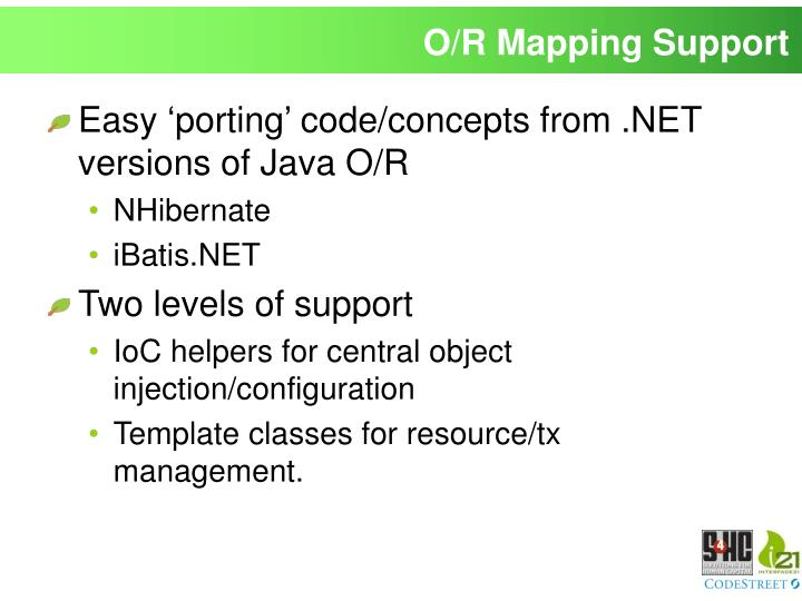 O/R Mapping Support