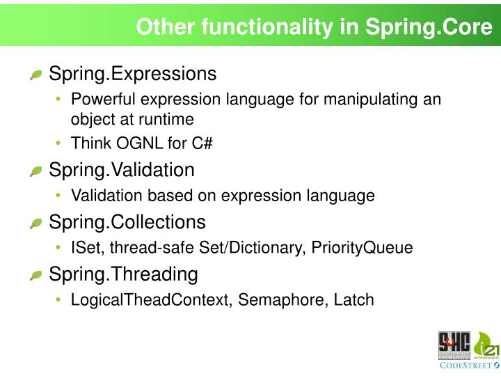 Other functionality in Spring.Core