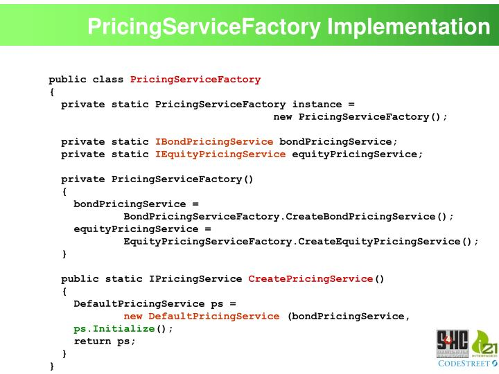 PricingServiceFactory Implementation