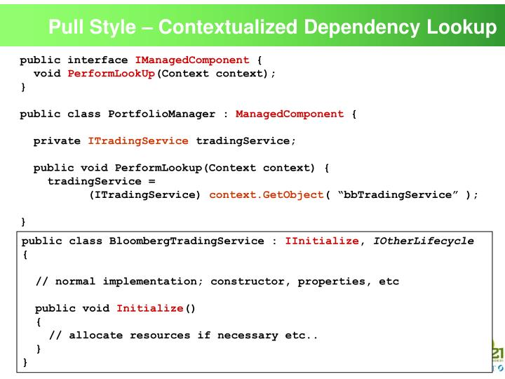 Pull Style – Contextualized Dependency Lookup
