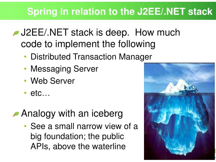 Spring in relation to the J2EE/.NET stack