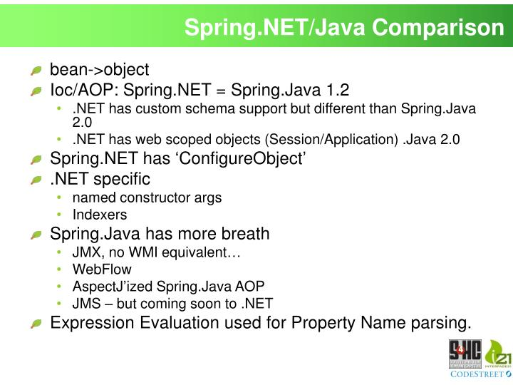 Spring.NET/Java Comparison