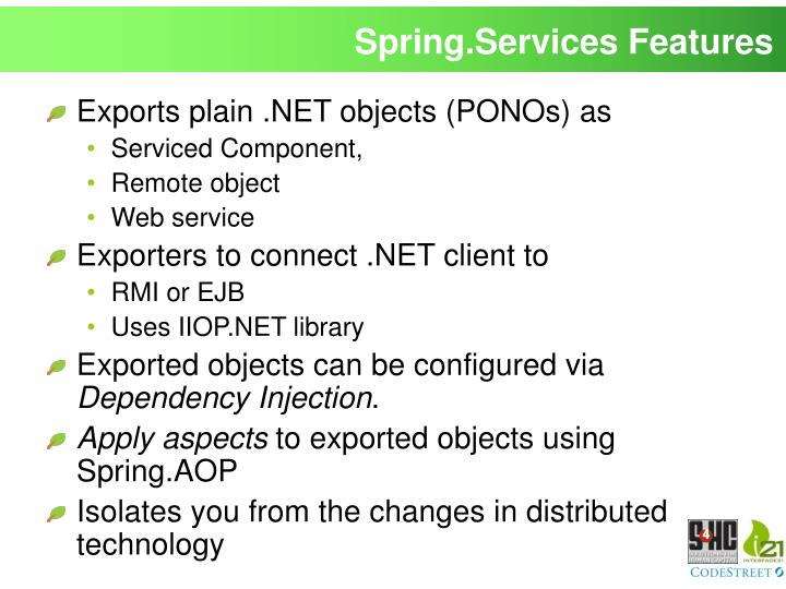Spring.Services Features
