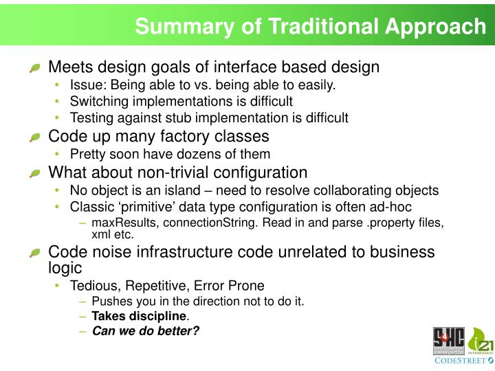 Summary of Traditional Approach