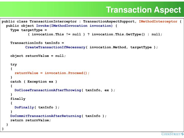 Transaction Aspect