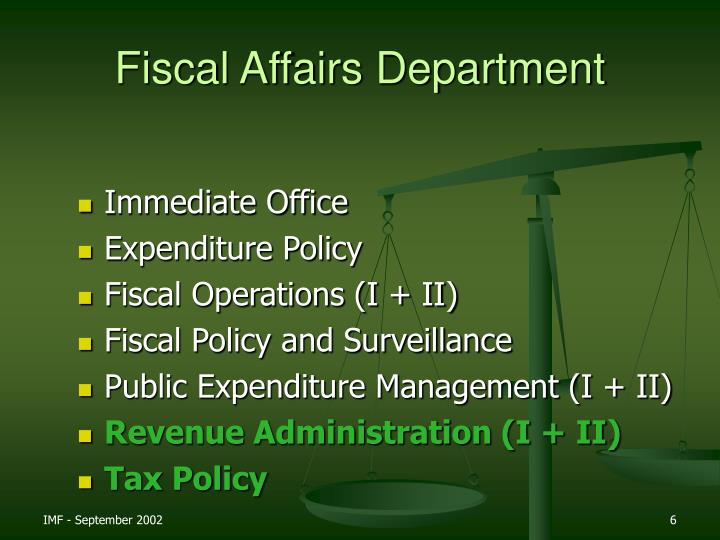 Fiscal Affairs Department
