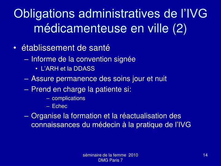 Obligations administratives de l'IVG médicamenteuse en ville (2)