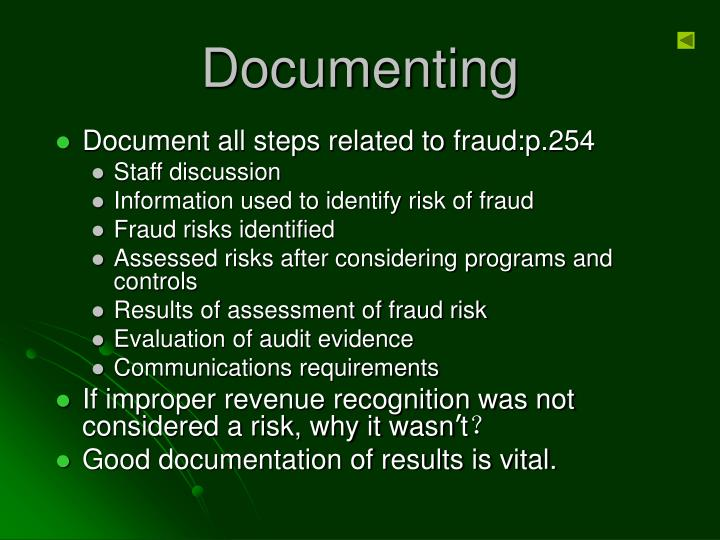 Document all steps related to