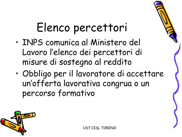 Elenco percettori