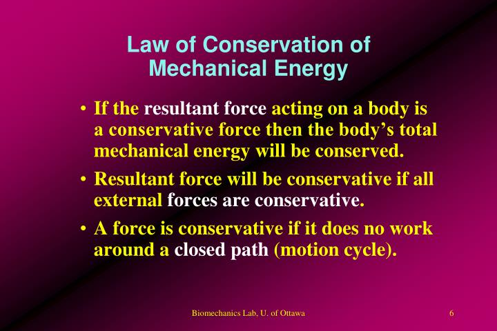Law of Conservation of Mechanical Energy