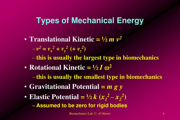 Types of Mechanical Energy