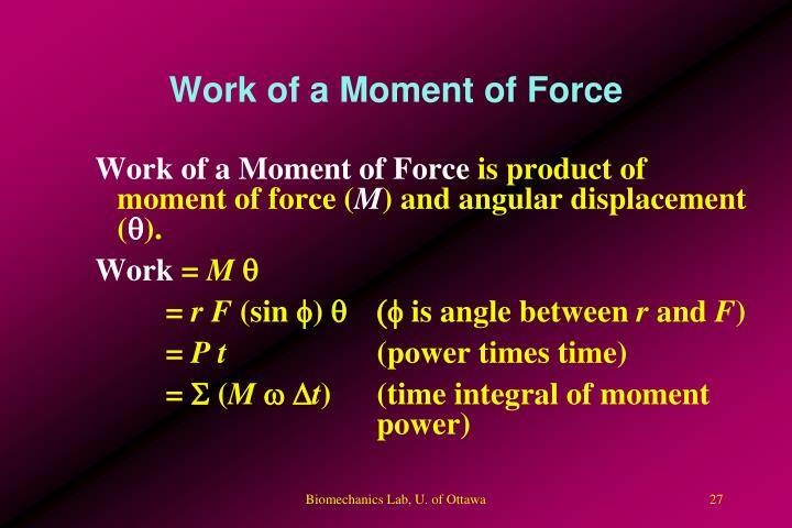 Work of a Moment of Force