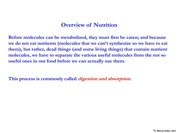 Overview of Nutrition