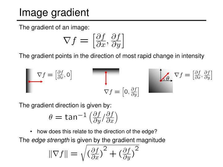 The gradient direction is given by: