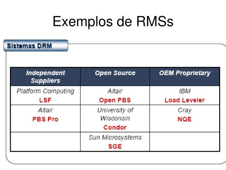 Exemplos de RMSs
