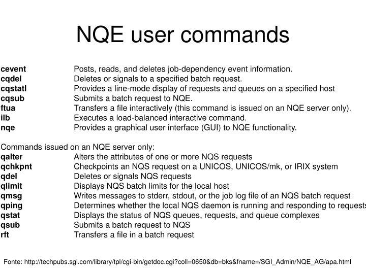NQE user commands