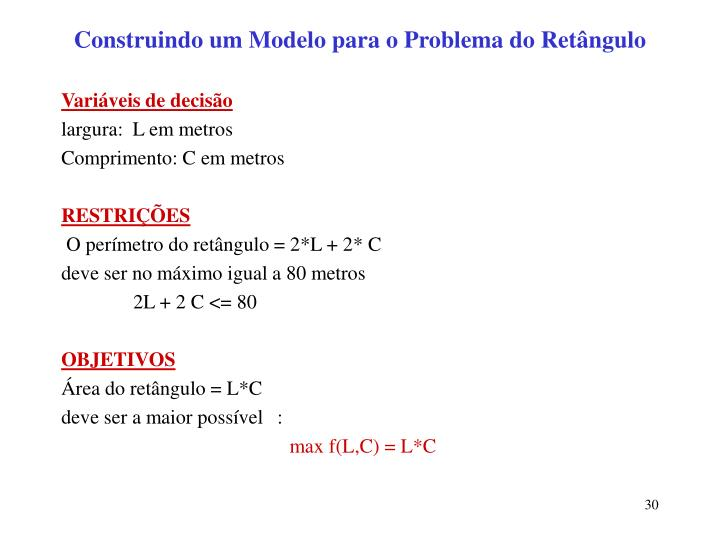 Construindo um Modelo para o Problema do Retângulo