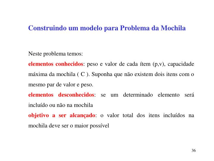 Construindo um modelo para Problema da Mochila