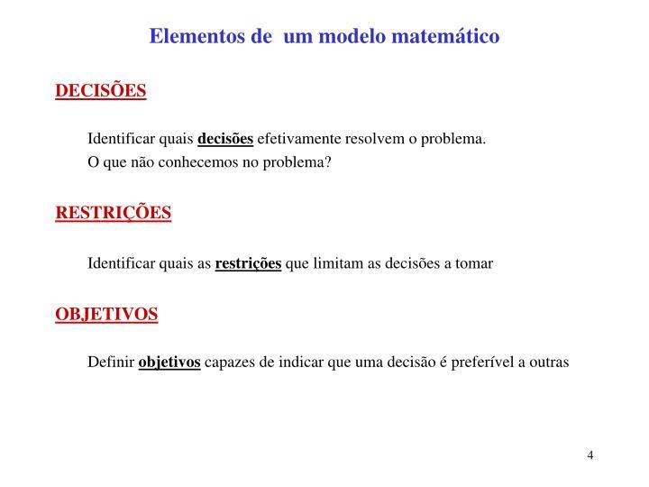 Elementos de  um modelo matemático