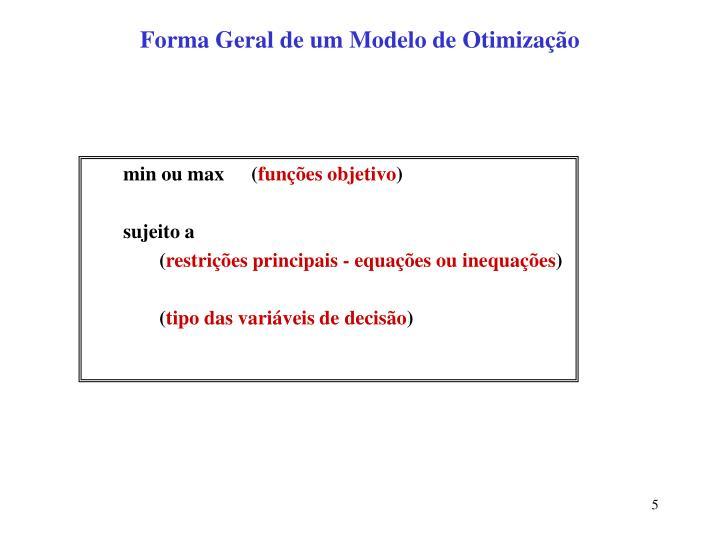 Forma Geral de um Modelo de Otimização