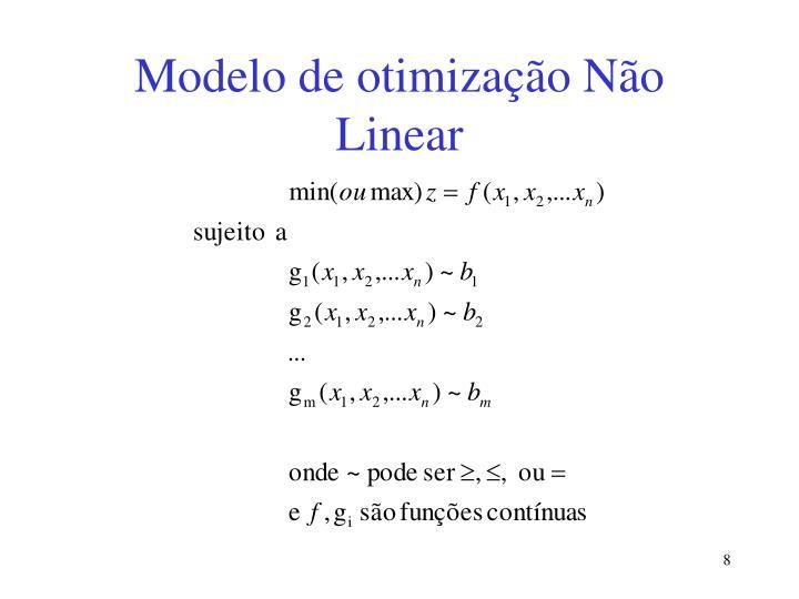 Modelo de otimização Não Linear
