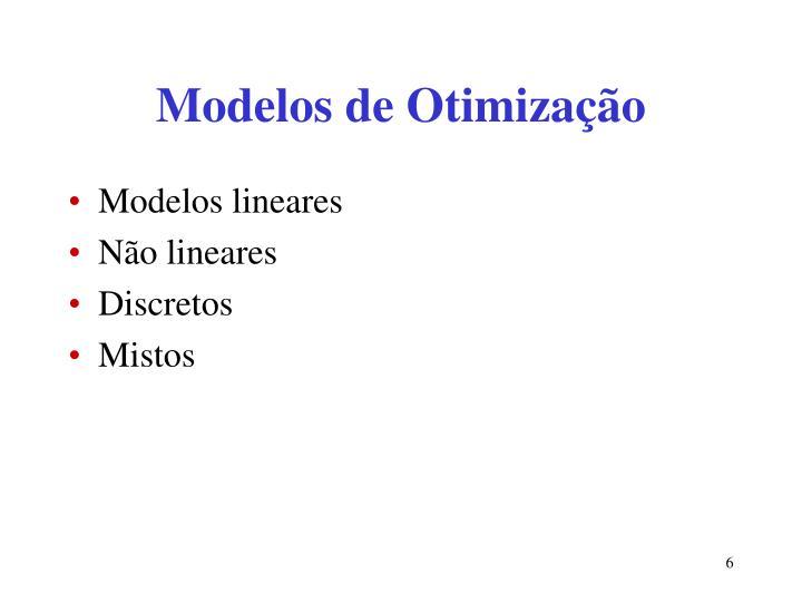 Modelos de Otimização