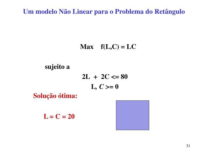 Um modelo Não Linear para o Problema do Retângulo