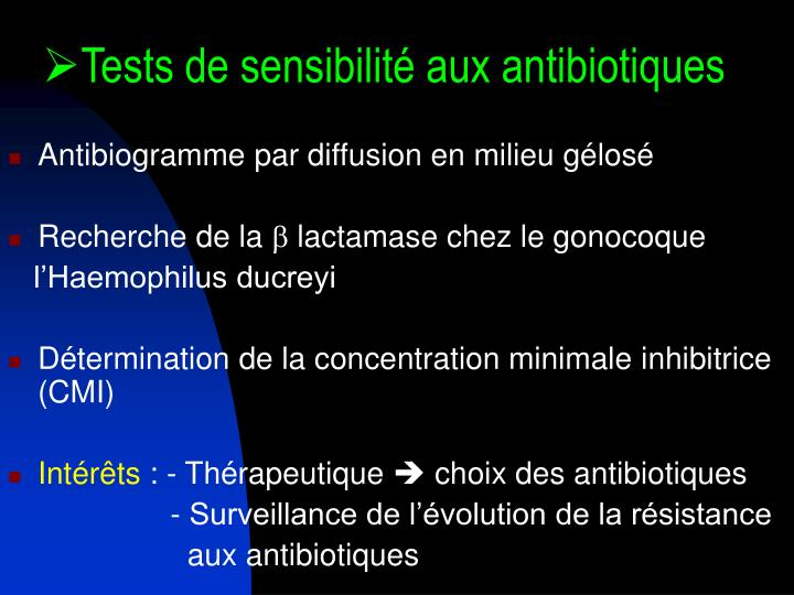 Tests de sensibilité aux antibiotiques