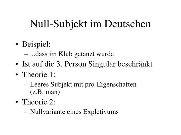 Null-Subjekt im Deutschen