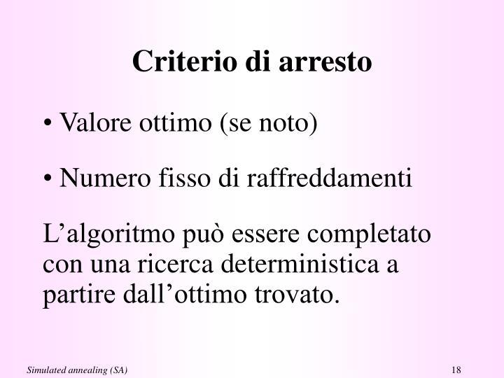 Criterio di arresto