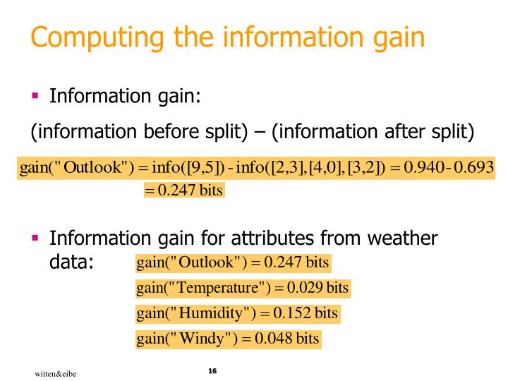 Computing the information gain