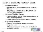 dtra is assisted by outside talent
