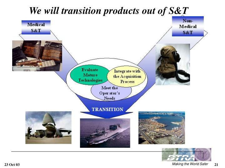 We will transition products out of S&T