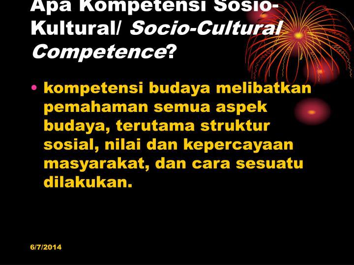 Apa Kompetensi Sosio-Kultural/
