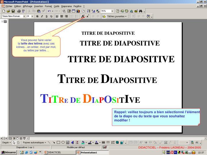 TITRE DE DIAPOSITIVE