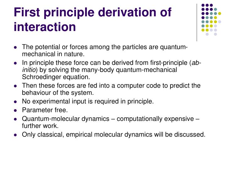 First principle derivation of interaction