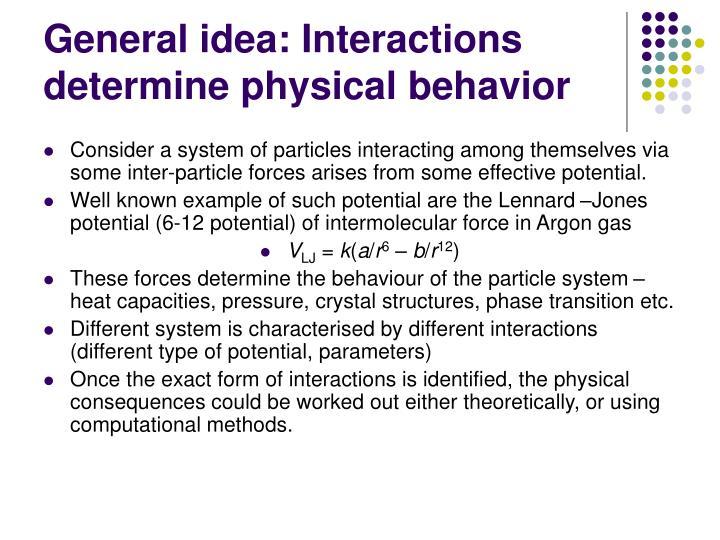 General idea: Interactions determine physical behavior