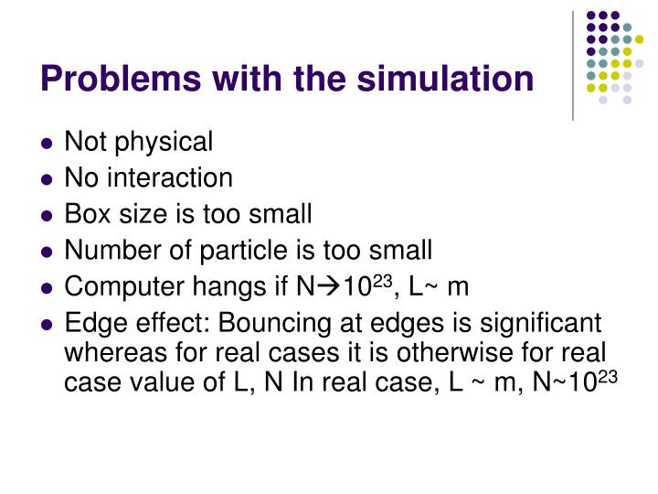Problems with the simulation