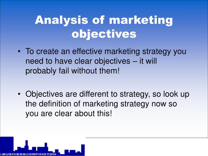 Analysis of marketing objectives