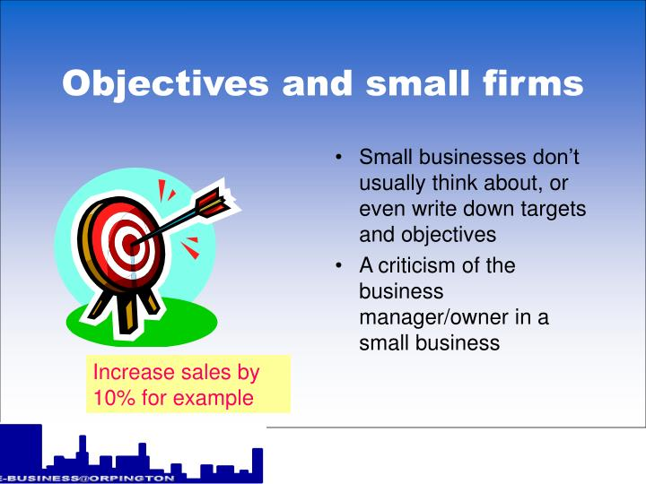 Objectives and small firms