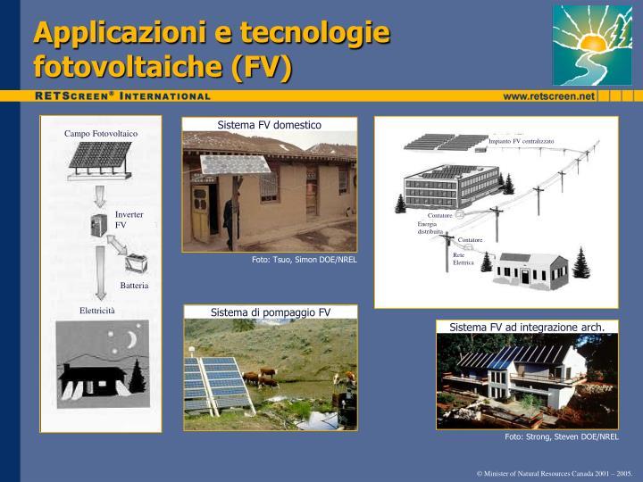 Applicazioni e tecnologie fotovoltaiche (FV)