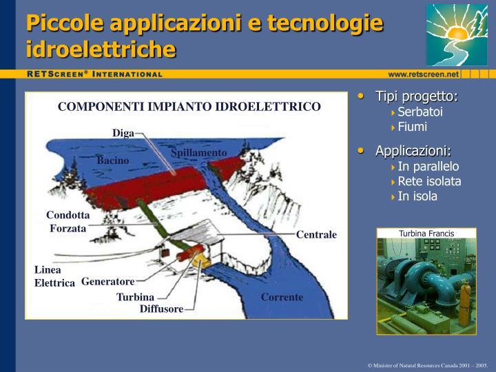 Piccole applicazioni e tecnologie idroelettriche