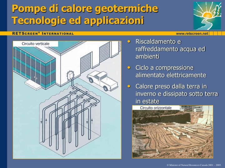 Pompe di calore geotermiche Tecnologie ed applicazioni